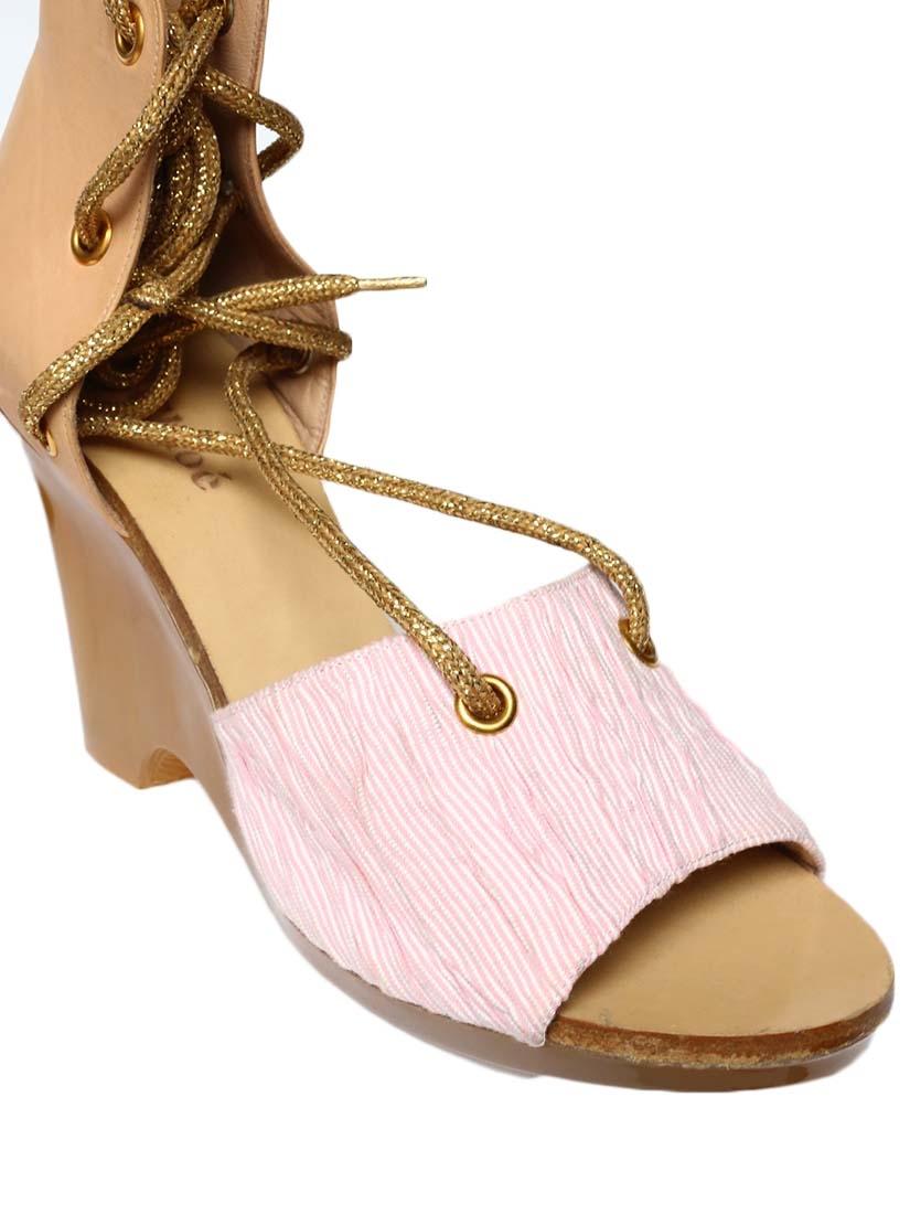 louise paris chloe sandales compens es en cuir beige et tissu ray rose taille 39. Black Bedroom Furniture Sets. Home Design Ideas