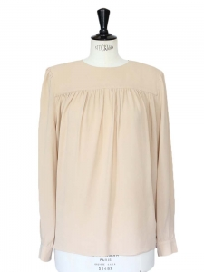 Pink beige silk crepe long sleeves shirt Retail price around €500 Size 40