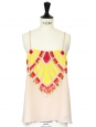 Light pink beige embroidered sleeveless top Retail price around €250 Size 36