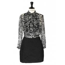 """Georgette"" black and white printed silk dress Retail price around €520 Size 36"