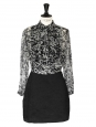 """Georgette"" black and white printed silk dress Retail price around €520 Size 36"