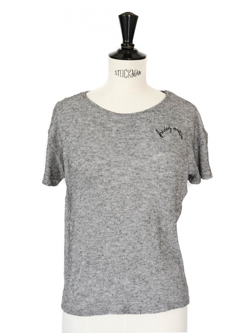T-shirt femme manches courtes gris Taille 34