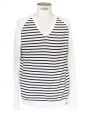 Blue and white striped sailor V-neck sweater Size XL
