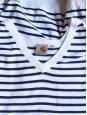 Pull marinière bleu/ blanc col V Px boutique environ 90€ Taille XL