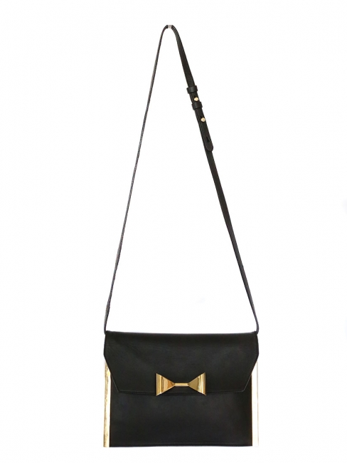 RACHEL bow-embellished black leather shoulder bag / clutch Retail price €895