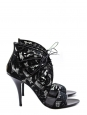 Ankle black leather and lace heel sandals Retail price 640€ Size 40,5