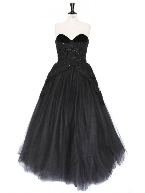 Robe de soirée CHRIS KOLE bustier en tulle noir et dentelle brodée Taille 36