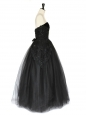 Robe de bal CHRIS KOLE bustier en tulle noir et dentelle brodée Taille 36