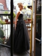 CHRIS KOLE Black embroidered lace and tulle ball gown Size 36