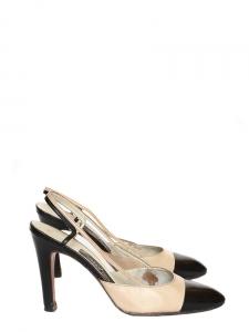Escarpins en cuir bicolores beige/noir Taille 35,5
