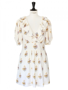 Floral printed ecru silk crêpe short sleeves dress Size 36/38