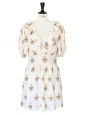 Floral printed ecru silk crêpe short sleeves décolleté dress Retail price €1200 Size 36/38