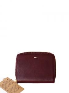 Portefeuille compact en cuir bordeaux avec zip doré Px boutique 180€