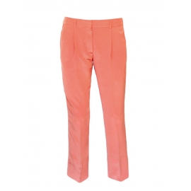 Coral pink crepe de Chine silk pants Retail price €550 Size 36