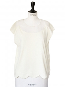 Scalloped cotton and silk top Retail price €350 Size 36