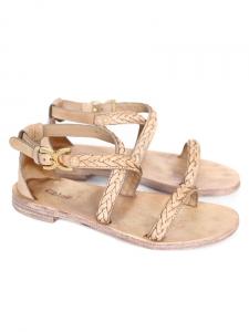 Sandales plates en cuir tressé beige Px boutique 480€ Taille 36,5