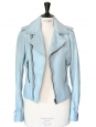 Light blue leather biker moto jacket Retail price €2250 Size 38/40