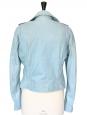 Veste perfecto biker en cuir d'agneau bleu ciel Px boutique 2250€ Taille 38/40