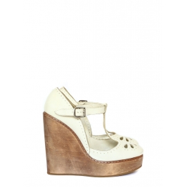 Off white distressed leather and wood T-bar wedge pumps Retail price €512 Size 36