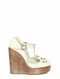 Off white distressed leather and wood T-bar wedge pumps Retail price €512 Size 38