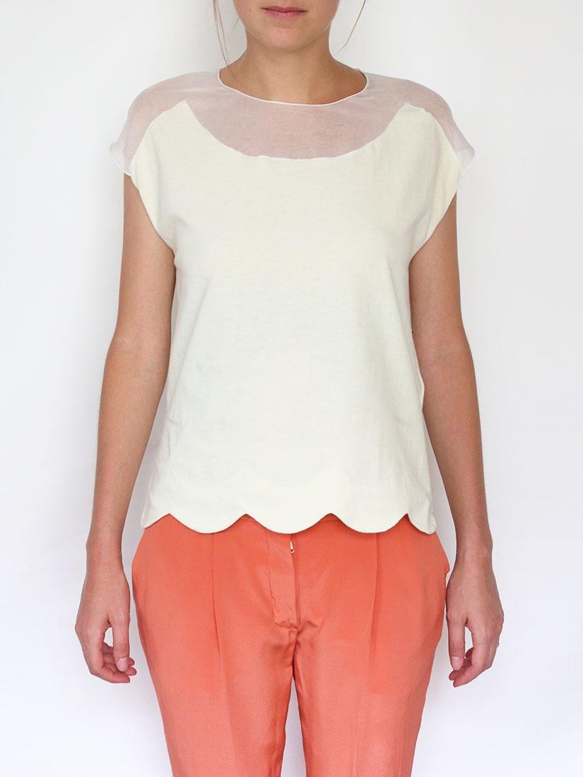 Louise Paris - CHLOE Scalloped cotton and silk top Retail ...