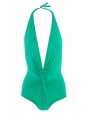 One piece emerald green low back and deep plunge twisted front swimsuit Retail price 235€ NEW Size 34 to 36