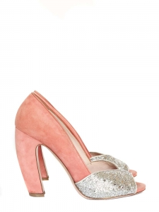 Silver glitter and pink suede leather peep toe pumps Size 38