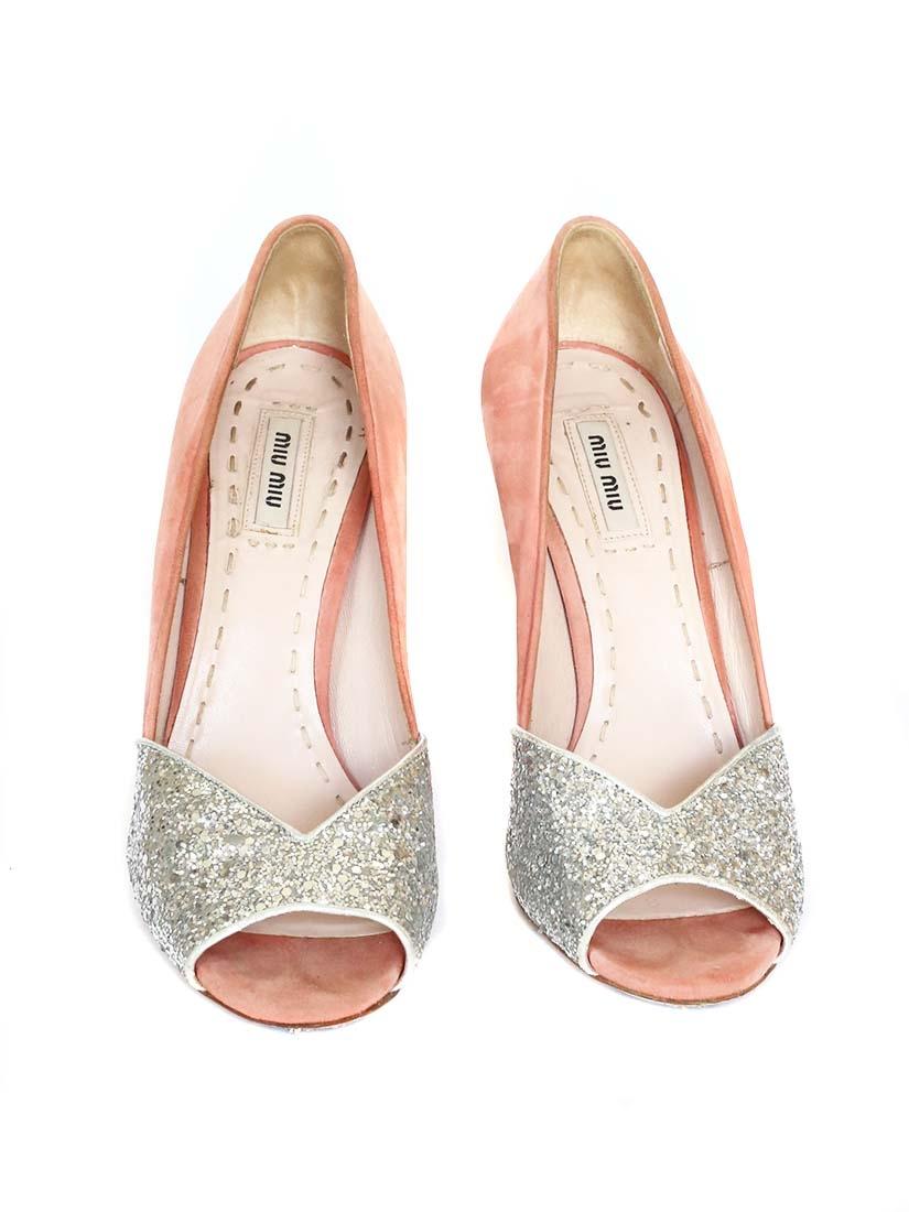 Louise Paris Miu Miu Silver Glitter And Pink Suede