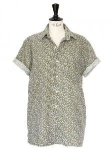 VINTAGE Light khaki green liberty print short sleeves shirt Size M/L