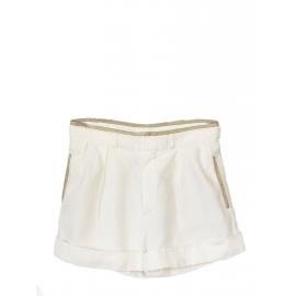 Short taille haute en lin blanc et cuir kaki clair Prix boutique 550€ Taille 36