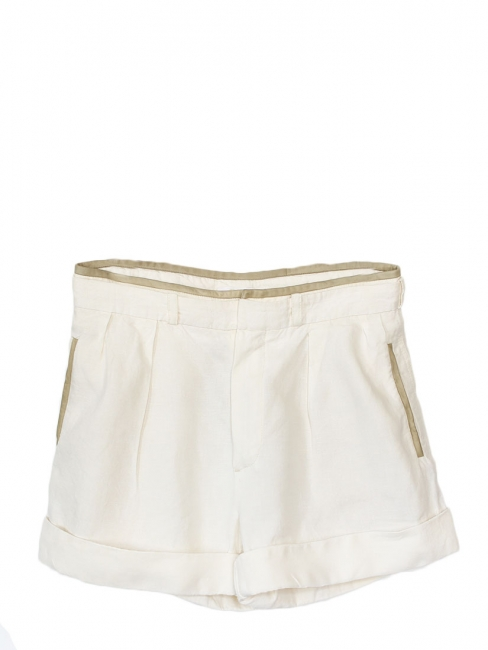 High waist white linen and kaki leather shorts Retail price €550 Size 36