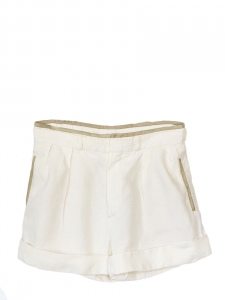 High waist white linen and kaki leather shorts Retail price 550€ Size 36