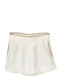 High waist white linen and kaki leather shorts Retail price €550 Size 36