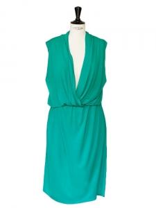 Robe sans manches drapée vert Px boutique 1000€ Taille 40