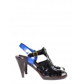 Sandales méduse en cuir verni noir et bleu roi Prix boutique 440€ Taille 39