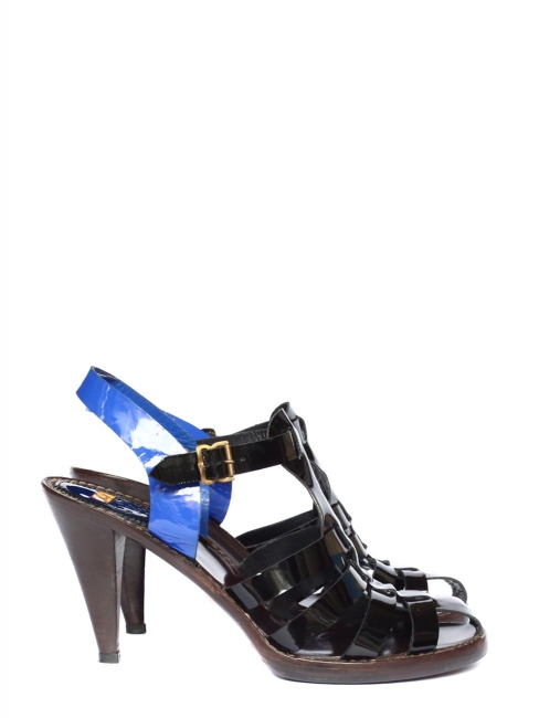 Black and blue patent leather heel sandals Retail price €440 Size 39
