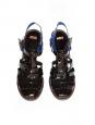 Sandales en cuir vernis noir et bleu roi Prix boutique 440€ Taille 39