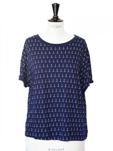 Short sleeves navy blue shirt with white anchors Size 36/38