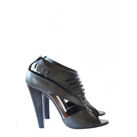 Blue grey leather high heels sandals Retail price 550€ Size 37 NEW