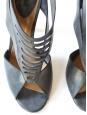 Sandales en cuir vieilli bleu gris Px boutique 550€ Taille 37 NEUVES