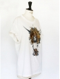 T-shirt en coton blanc Brodé main Prix boutique 500€ Taille XS