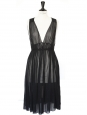 Sleeveless black cotton veil summer dress Retail price 1000€ Size 34 / XS