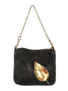 Black lambskin leather small evening bag with gold leaf lock Retail price 950€