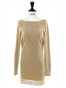 Deep open back gold metallic knit short sleeves dress Retail price 1300€ Size 36