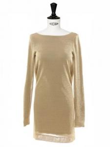 Robe de cocktail dos nu en maille métallisée dorée Px boutique 1300€ Taille 36