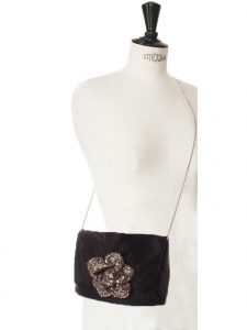 Black silk satin evening bag with gold chain and crystal embroidery Retail price 1500€