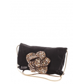 Black silk satin evening bag with gold chain and crystal embroidery Retail price €1500