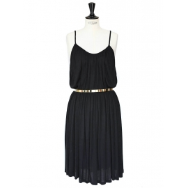 Black jersey cocktail dress with thin straps and gold metallic belt NEW Retail price 950€ Size S