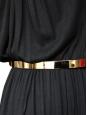 Robe de cocktail à fines bretelles en jersey noir ceinture métallisée doré Px boutique 950€ NEUVE Taille S