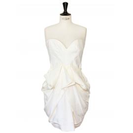 Robe de cocktail bustier drapée en soie blanche Prix boutique 1435€ Taille 38